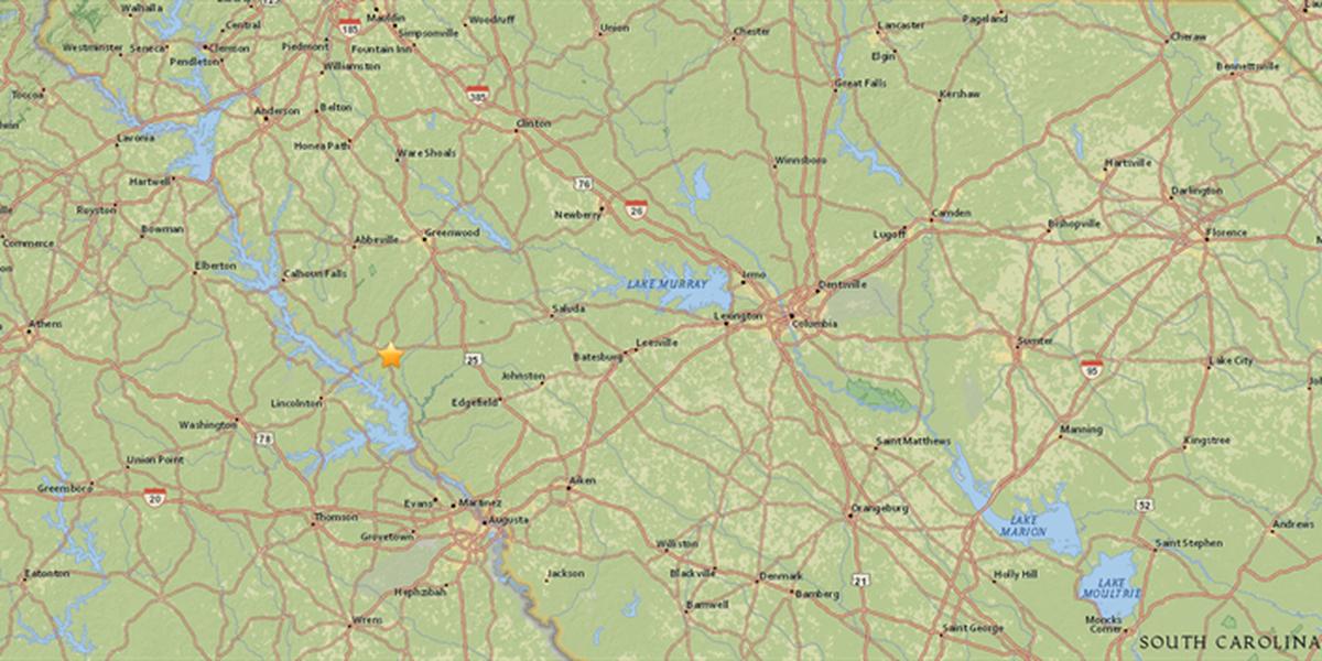 2.6 magnitude earthquake strikes west of Columbia near SC-GA ... on north carolina earthquake fault line map, ga co map, ga nv map, ga nc map, ga regions map, ga district map, ga tn map, ga elevation map, ga state map, ga fl map, ga interstate map, ga road map, georgia and florida road map, athens ga map, ga al map, ga st map, south carolina map, south ga cities map, ga rivers map, ga ala map,