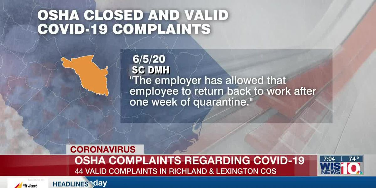OSHA data shows more than 250 SC whistleblower complaints over COVID-19