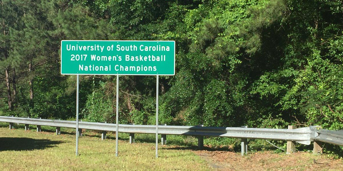 Signs commemorating Gamecocks' national championship installed on SC highways