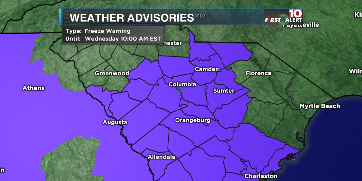 First Alert Forecast: Some Midlands counties saw light a.m. snow Tuesday, freeze warning in effect