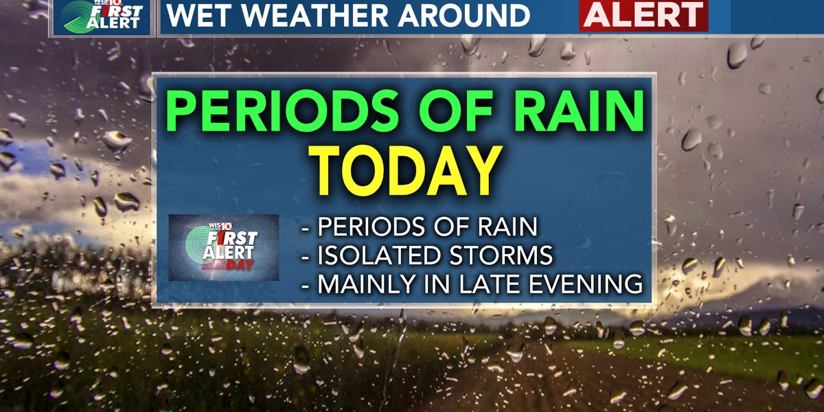 FIRST ALERT- Showers & Some Thunder Today, More Unsettled Weather Tuesday & Wednesday Too