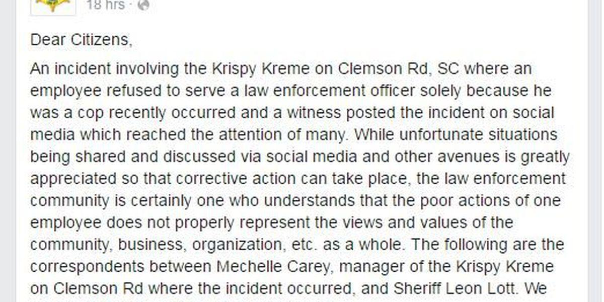 Facebook post about Krispy Kreme employee's refusal to serve deputy reaches sheriff