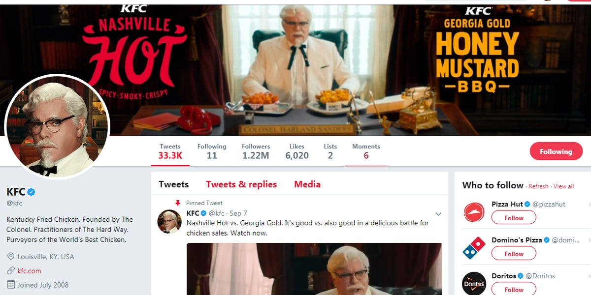 Y'all...go and check out who KFC follows on Twitter