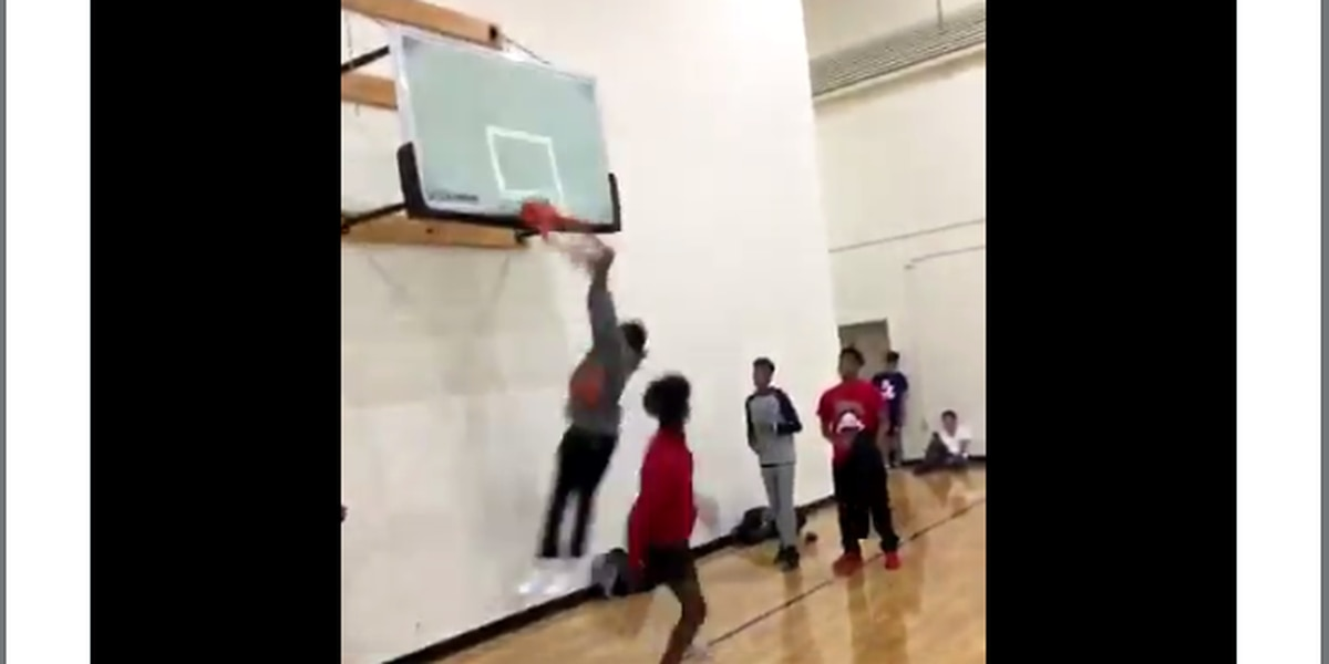 WATCH: SC high schooler shatters backboard in vicious dunk inside gym