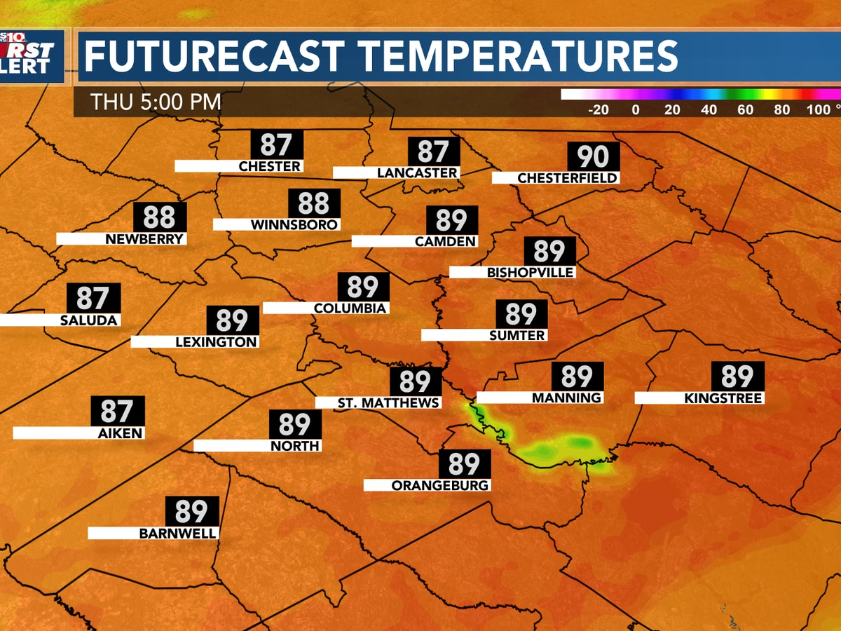 Warming up today into the upper 80s, even warmer Thursday