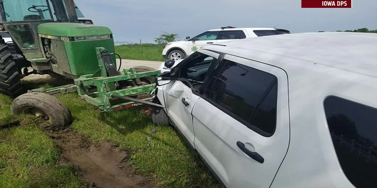 Man drove tractor into sheriff's car, authorities say
