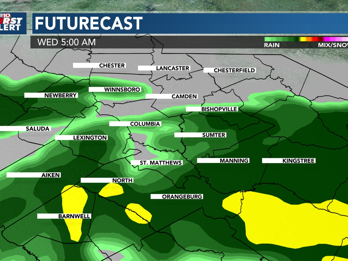 First Alert Forecast: Tracking more rain Tuesday night into Wednesday in the Midlands