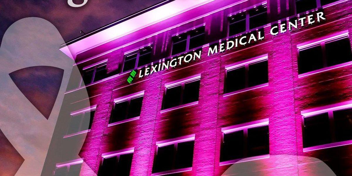 Lex. Med. lighting up hospital in honor of breast cancer awareness