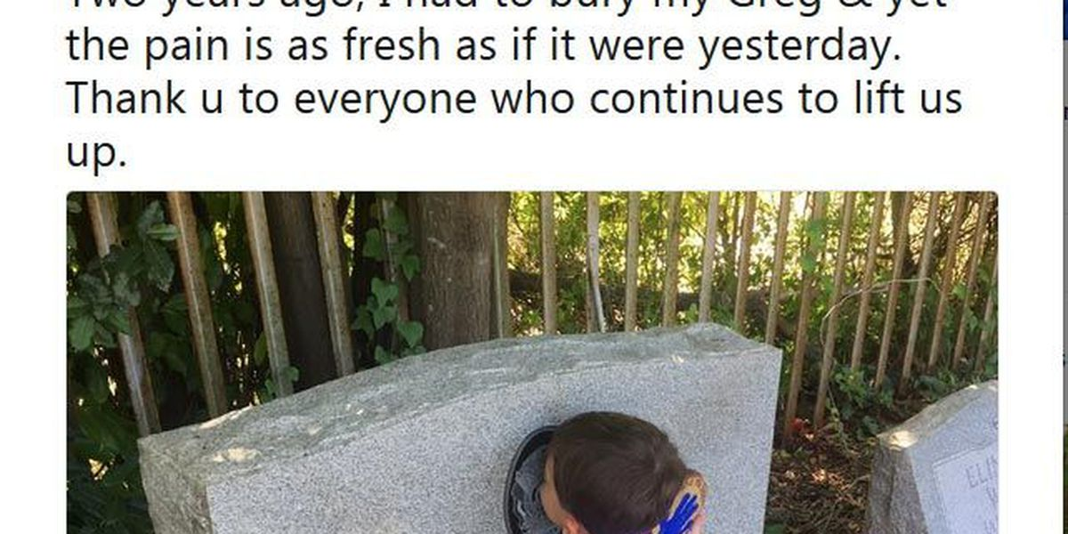 Wife of fallen Forest Acres officer posts heartfelt photo of son visiting grave