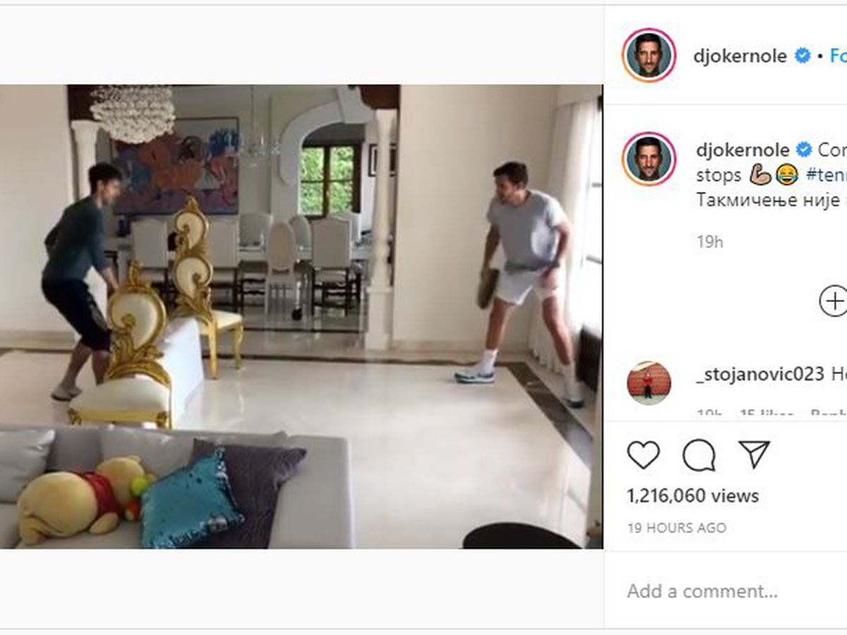Novak Djokovic and brother play tennis in living room with frying pans