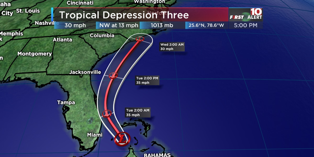 FIRST ALERT: Tropical Depression Three forms in the Bahamas; poses no threat to the Midlands for now