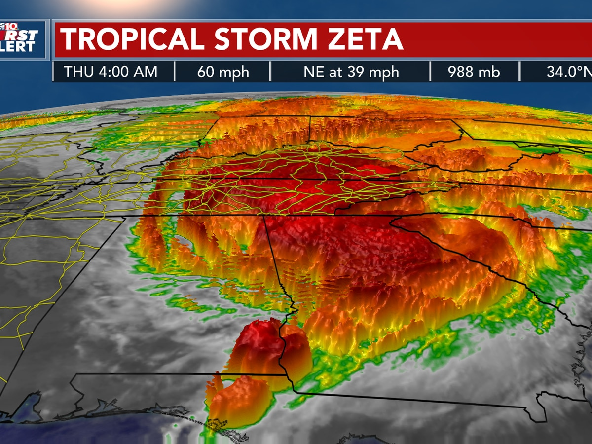 TROPICS: Zeta is weakening over land, will impact the Midlands today with strong, gusty winds and possible severe storms