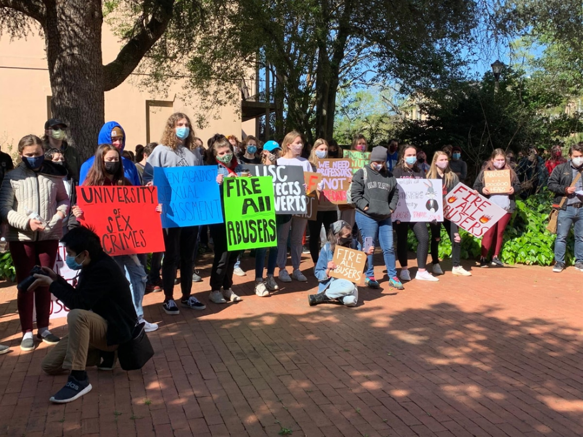 'Fire all abusers': Student protesters demand UofSC fire professors accused of sexual harassment