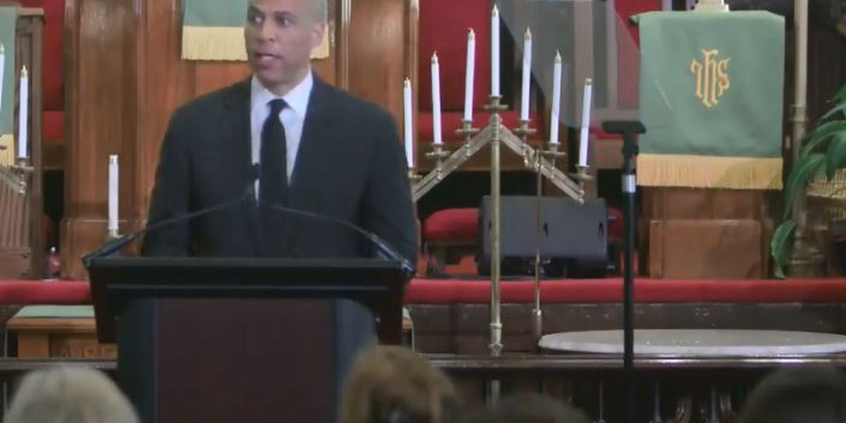 Cory Booker speaks about white supremacy at Emanuel AME in wake of recent mass shootings