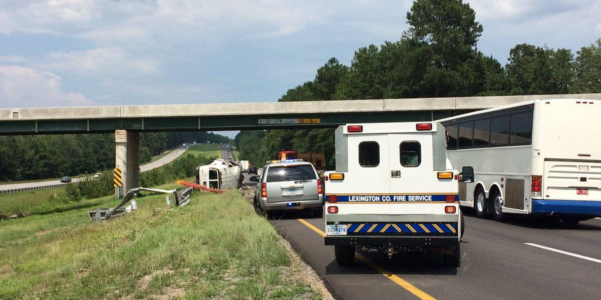 FIRST ALERT TRAFFIC: Overturned vehicle delays traffic on I-20 EB in Lexington Co.
