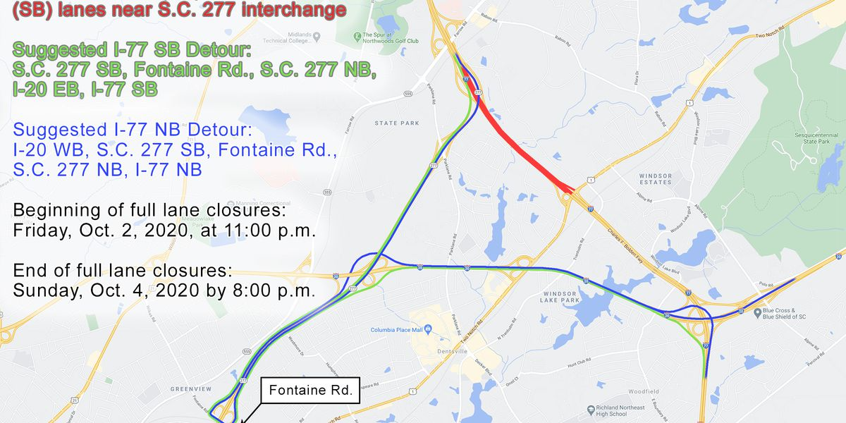 Lane closures, detours for I-77 in Richland Co. due to SC 277 bridge demolition