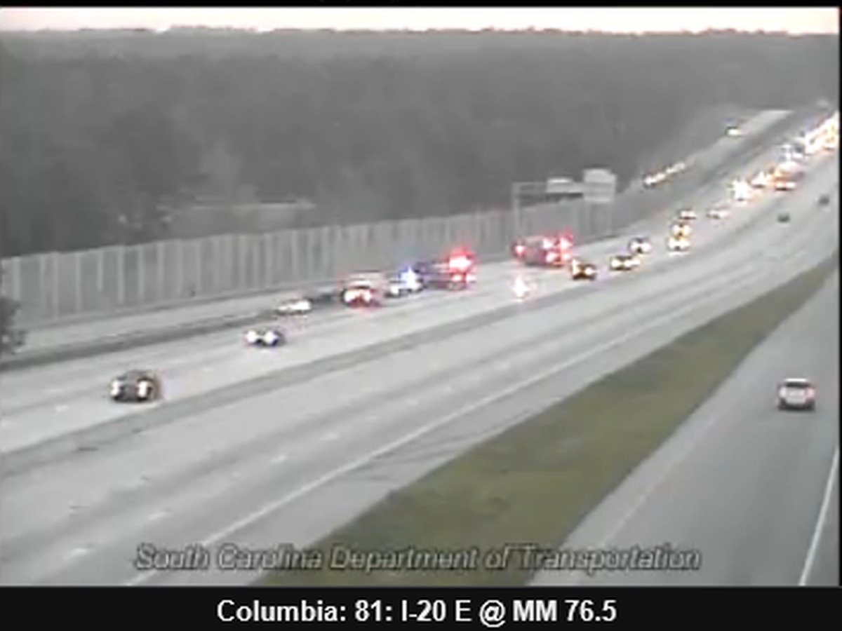 Right lane of I-20 West at I-77 exit closed due to collision