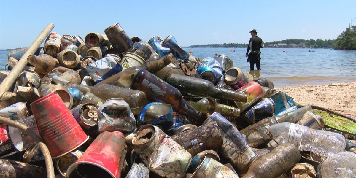 Piles of trash pulled from Lake Murray in annual cleanup