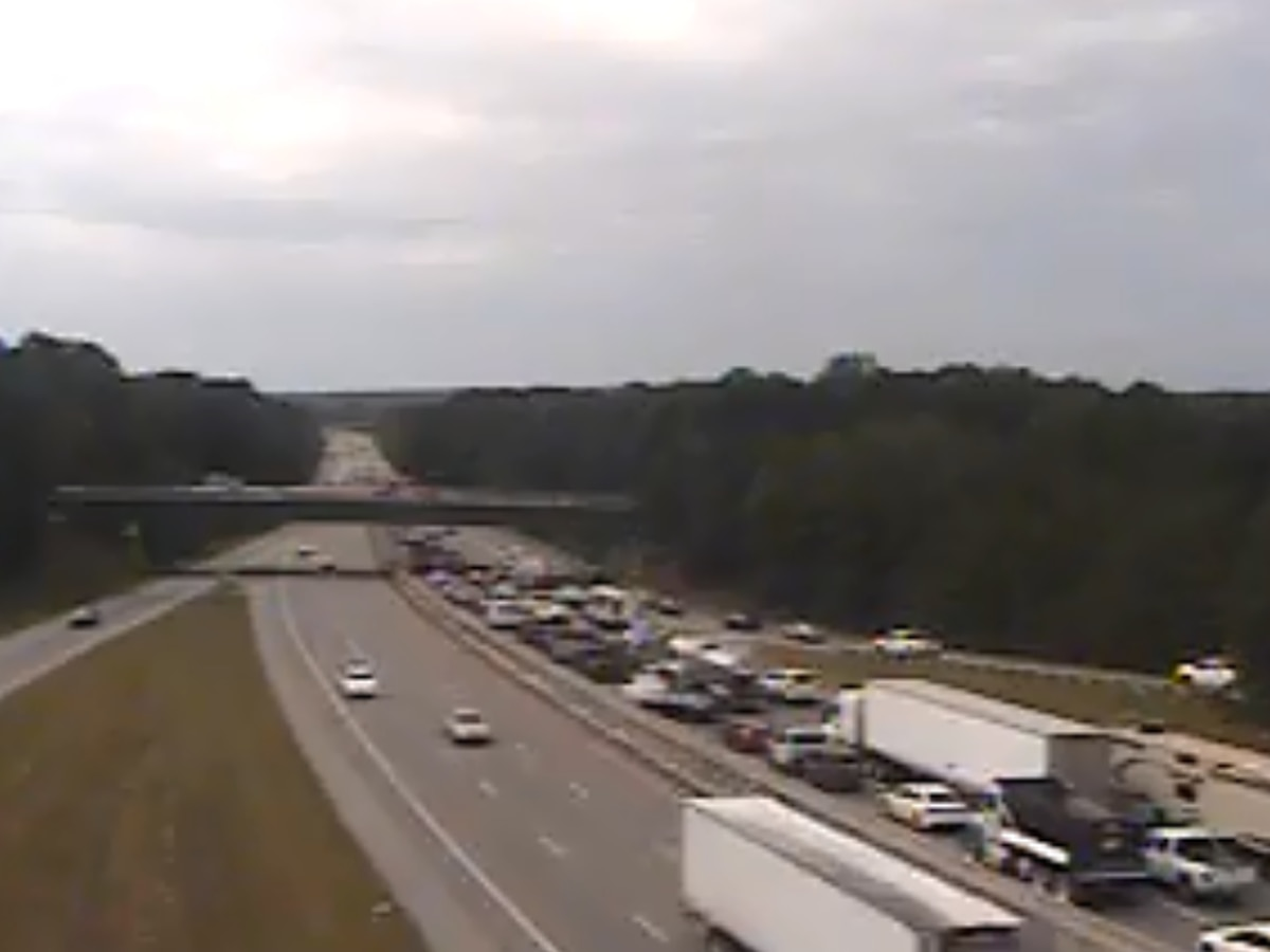 Traffic backed up on I-20 West due to truck fire near I-77 interchange