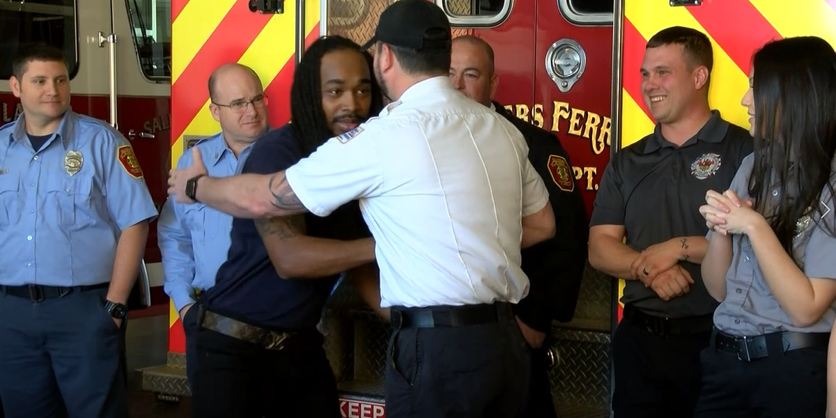 Man reunites with Salisbury firefighters who rescued him after 75 ft. fall from bridge