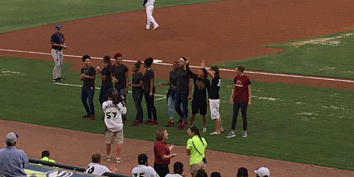 National Champion Gamecocks WBB team honored by Fireflies