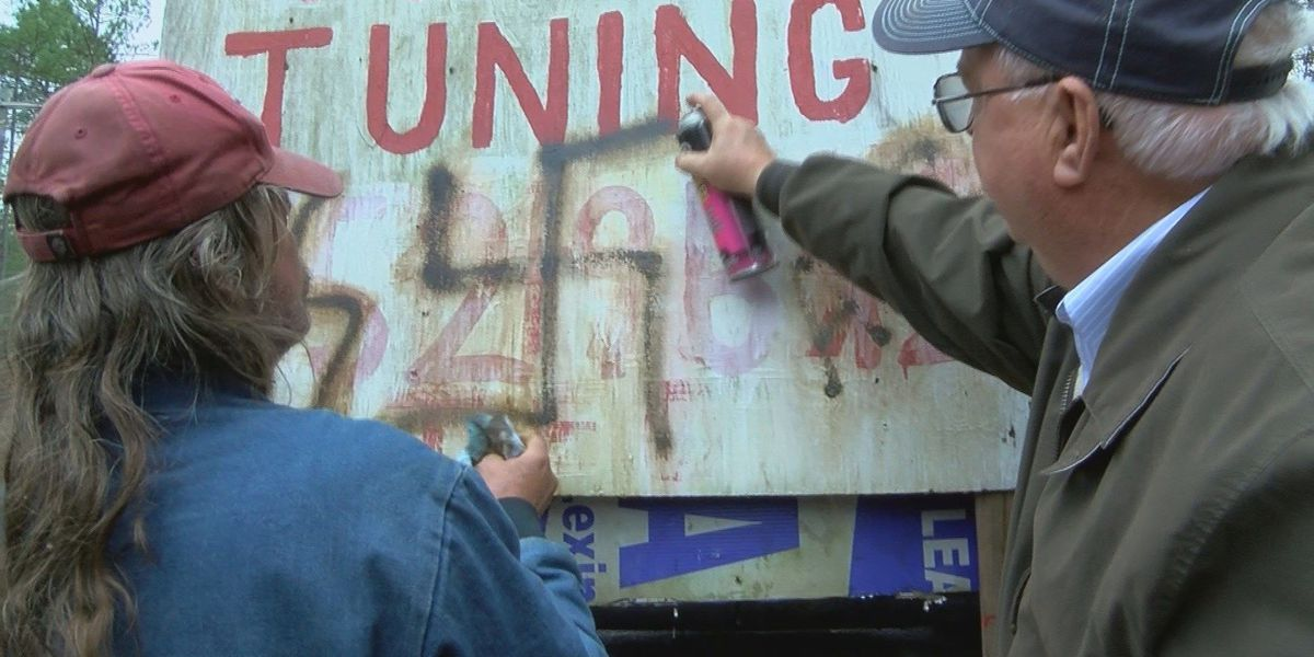 Good Samaritan helps clean Anti-Semitic symbols: 'We need to do our part.'
