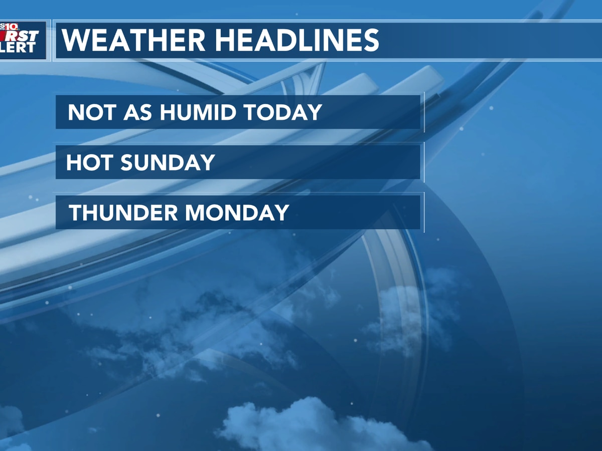 Few Storms East Today, Dry and Hot Sunday.