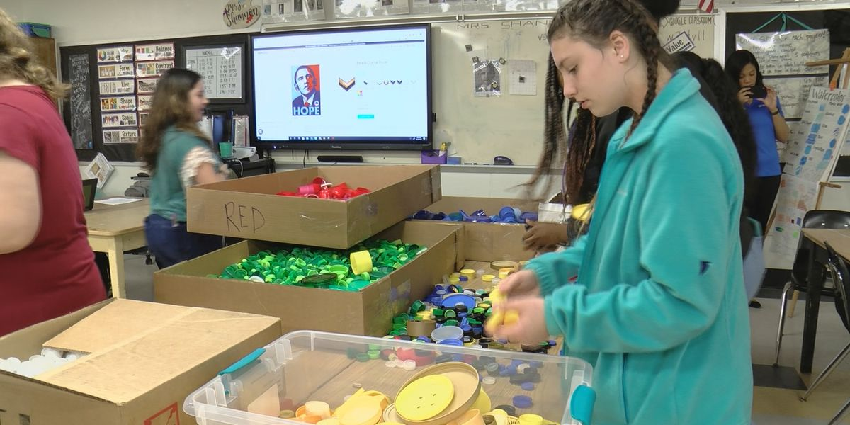 Middle School Students use recycled bottle caps for art
