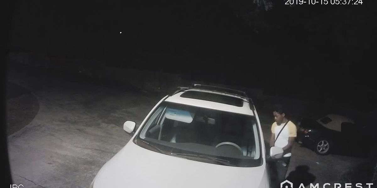 Surveillance video on man breaking into cars in Columbia