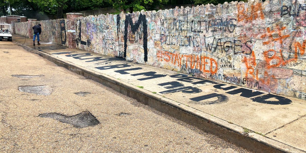 Graceland, Levitt Shell and 'I Heart Memphis' mural tagged with 'Defund the Police' graffiti
