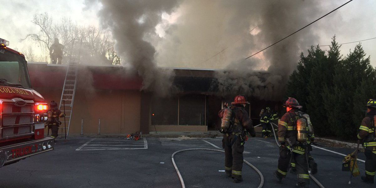 Two-alarm structure fire at vacant business on Two Notch Road