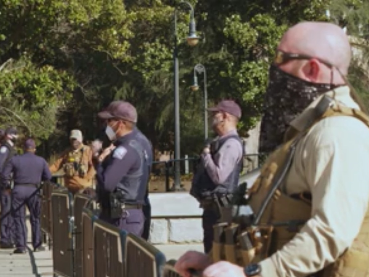 Law enforcement outnumber protestors at the SC State House on Inauguration Day