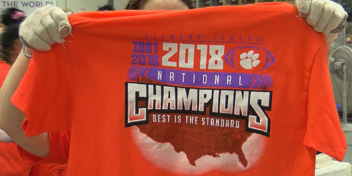 Printing begins for Clemson Championship t-shirts overnight