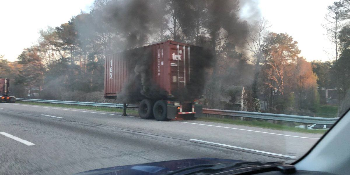 Tractor trailer catches fire on I-26