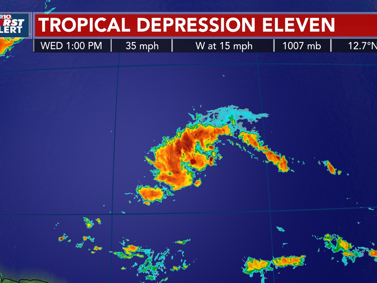 FIRST ALERT: Tropical Depression Eleven is forecast to strengthen in the tropical Atlantic Ocean