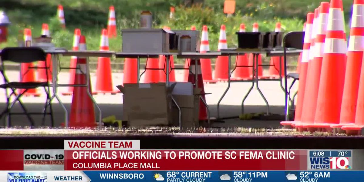 Mass vaccination site at Columbia Place Mall seeing low number of people