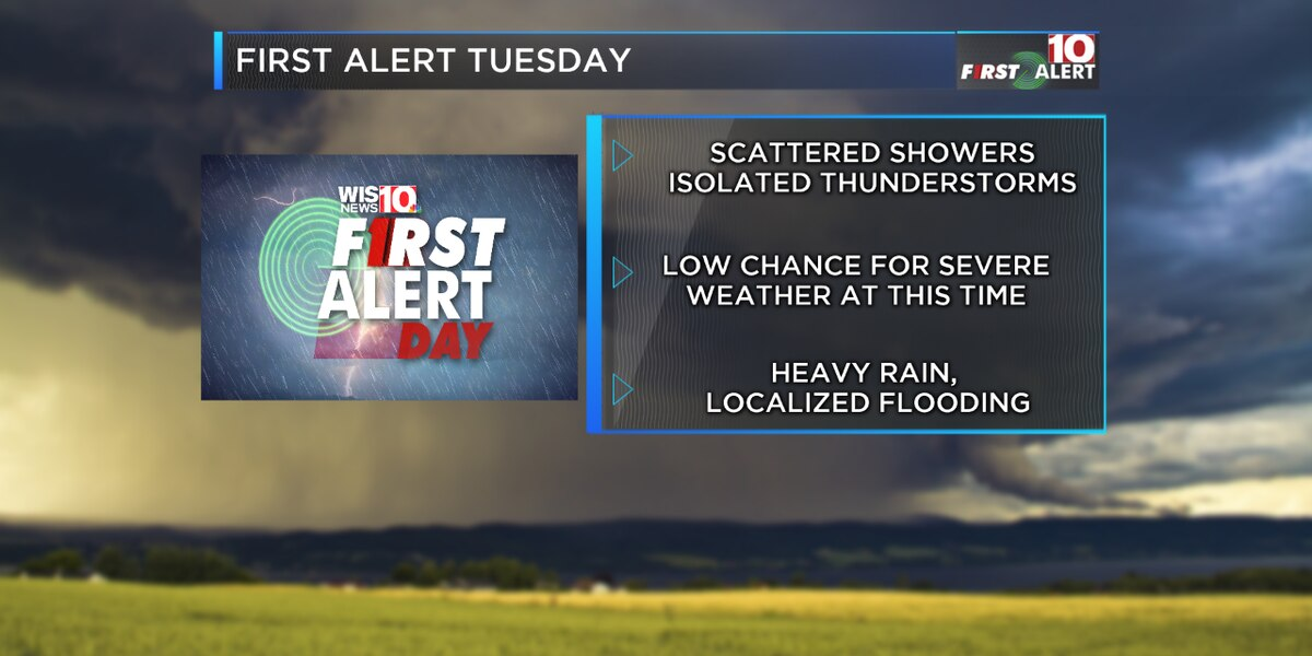 FIRST ALERT: Showers and isolated thunderstorms possible for Tuesday afternoon