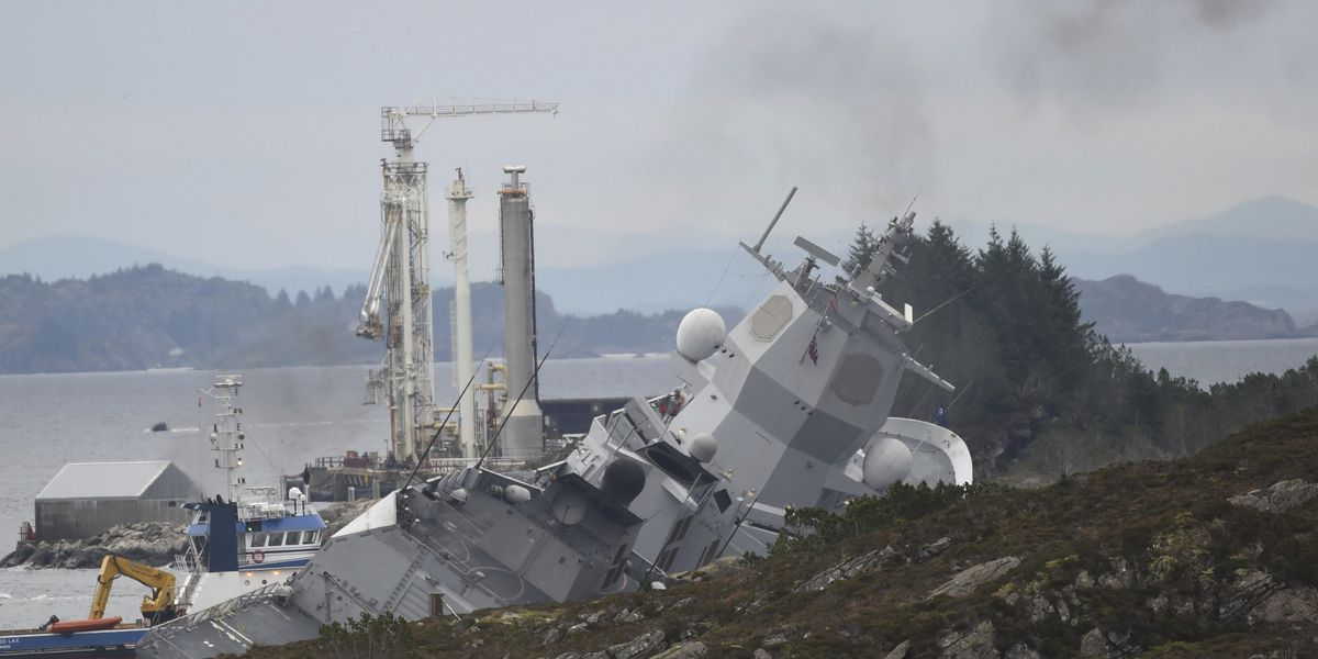 Norwegian frigate is rammed by tanker in harbor, could sink