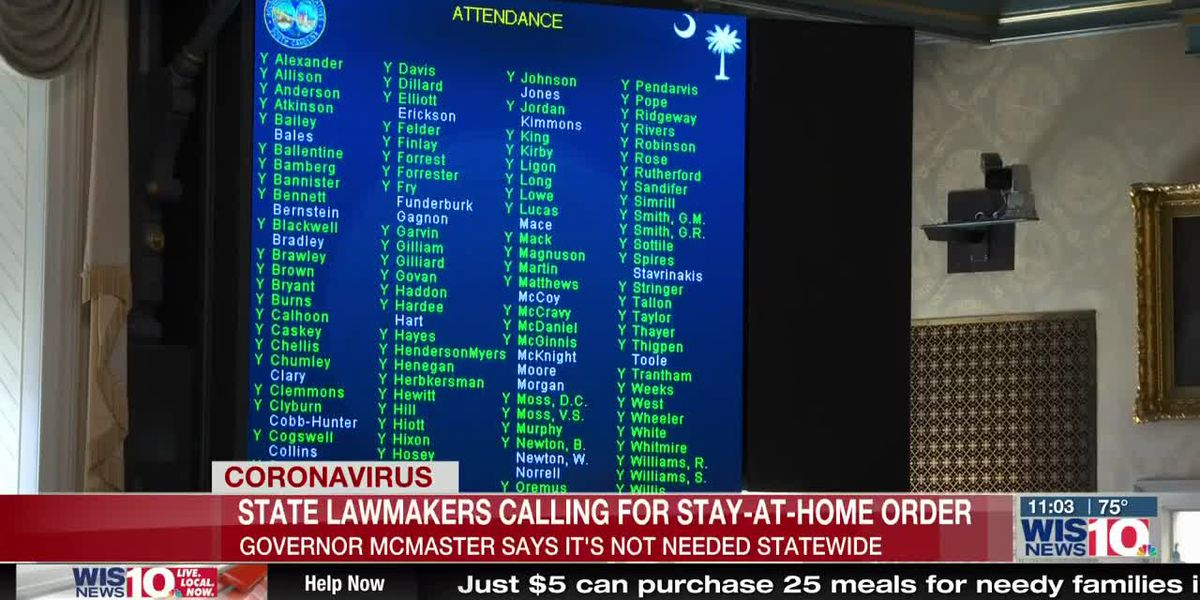 S.C. lawmakers ask governor for statewide 'stay-at- home' order